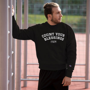 "UPLIFT x Champion Men's ""Count Your Blessings"" Sweatshirt - Black - Model"