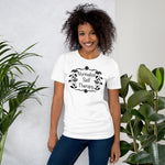 "Load image into Gallery viewer, UPLIFT Women's ""Normalize Self Therapy"" Graphic Tee - White"