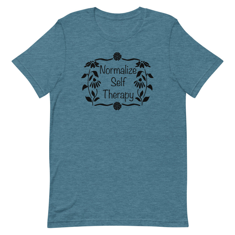 "UPLIFT Women's ""Normalize Self Therapy"" Graphic Tee - Heather Deep Teal"