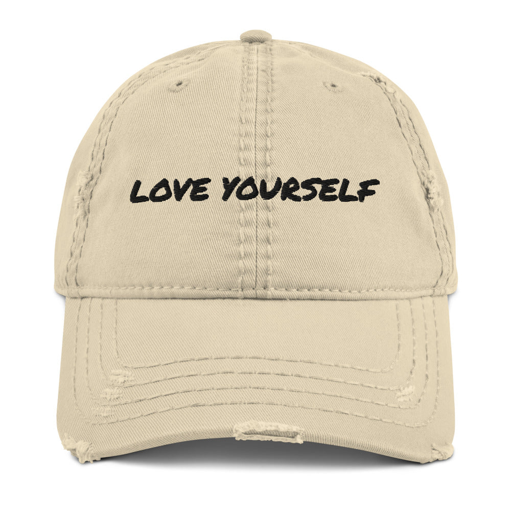 "UPLIFT ""Love Yourself"" Distressed Embroidered Cap - UPLIFT Wear - Front - Khaki"