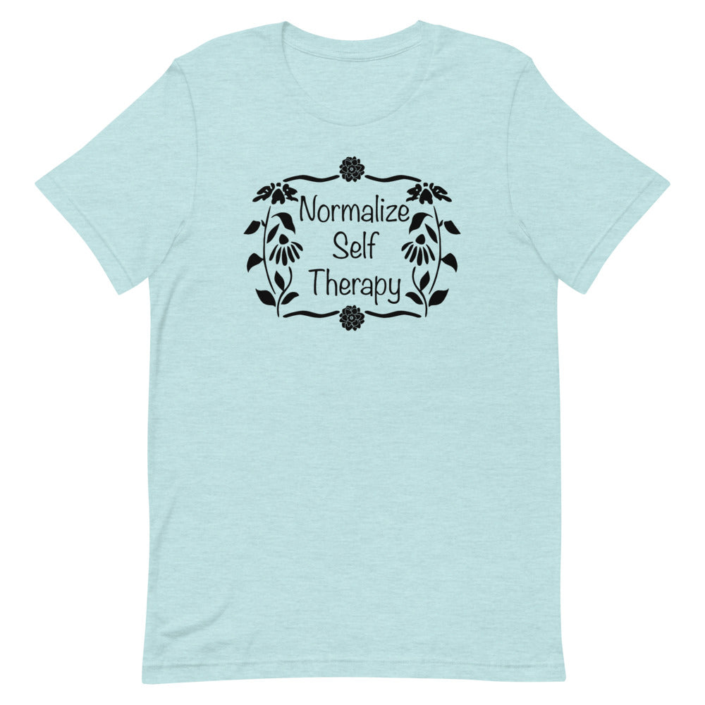 "UPLIFT Women's ""Normalize Self Therapy"" Graphic Tee - Ice Blue"