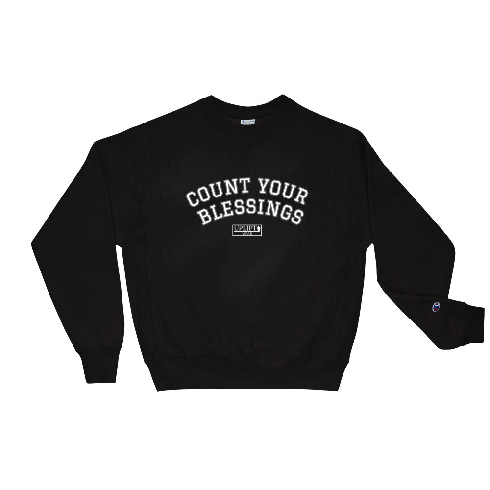 "UPLIFT x Champion Men's ""Count Your Blessings"" Sweatshirt - Black - Front"