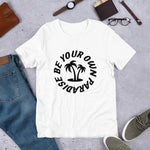 "Load image into Gallery viewer, UPLIFT Men's ""Be Your Own Paradise"" Short Sleeve Graphic Tee - White"