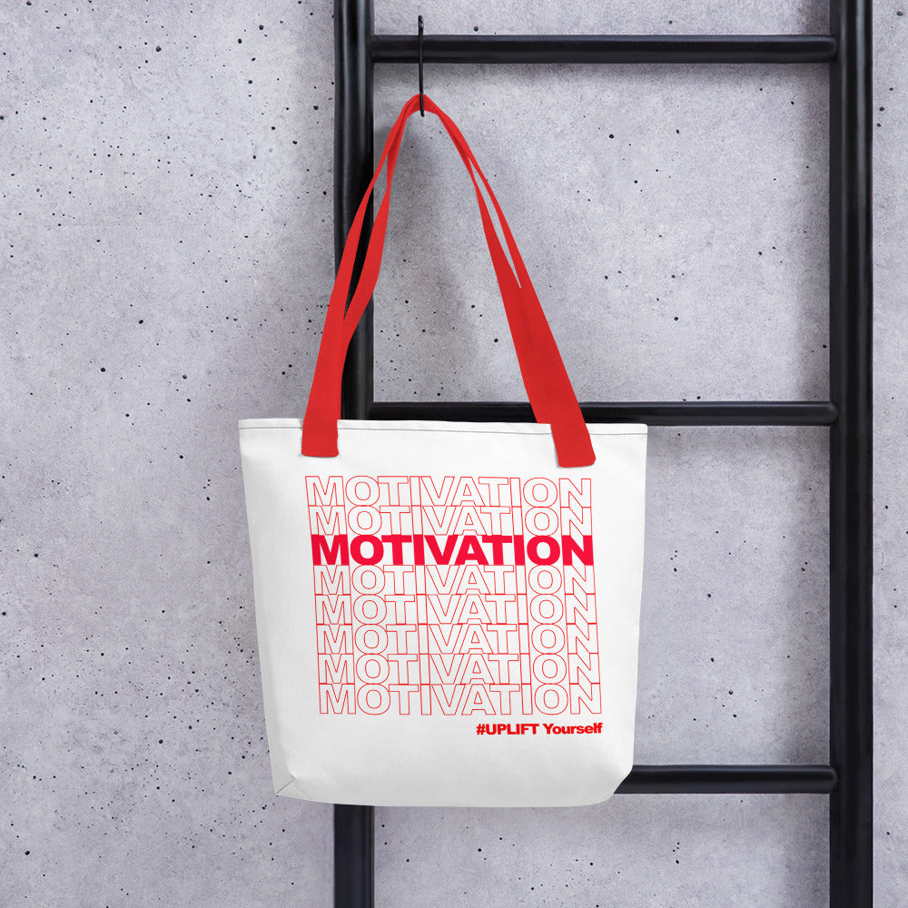 "UPLIFT ""Motivation"" Tote Bag (White)"
