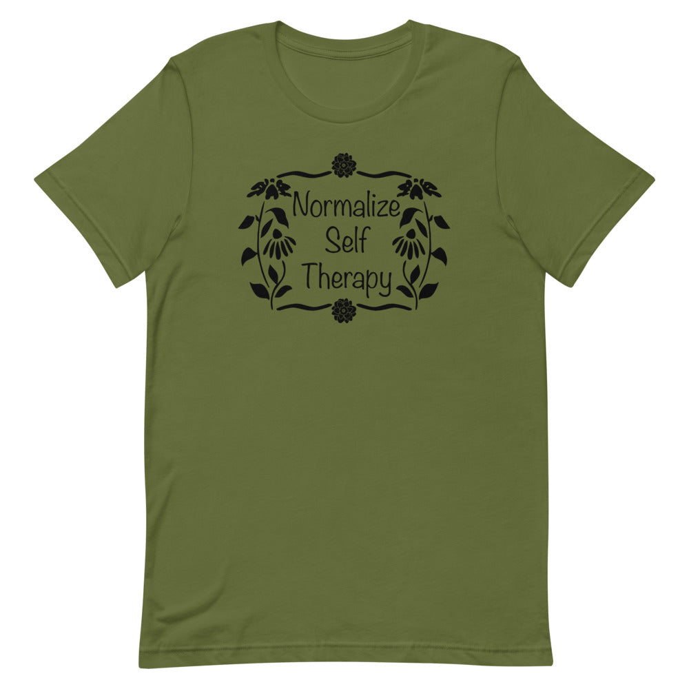 "UPLIFT Women's ""Normalize Self Therapy"" Graphic Tee - Olive Green"