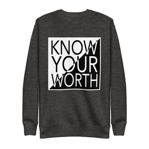"UPLIFT Men's ""Know Your Worth"" Graphic Sweatshirt - UPLIFT Wear - Charcoal Heather Grey"