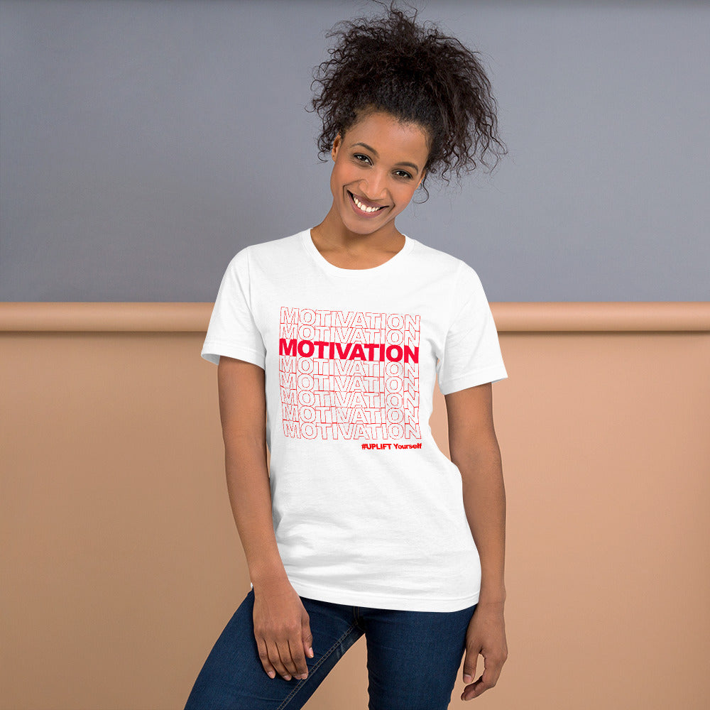 "UPLIFT ""Motivation"" Short Sleeve Graphic Tee - UPLIFT Wear - White - Womens"