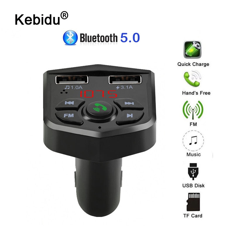 FM Transmitter Aux Modulator Bluetooth 5.0 Handsfree Car Audio MP3 Player With 3.1A Quick Charge Dual USB Car Charger Support TF