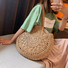 Load image into Gallery viewer, Straw Bags for Women Summer Rattan bolsas Circle Beach Handbags Handmade Knitted woven Bag
