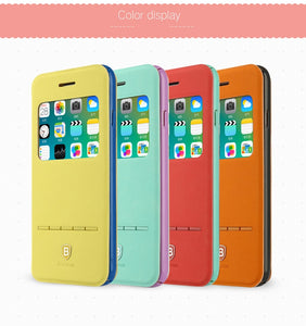 Leather Phone Case For iPhone 6 6s s Plus Fashion Young Colorful Smart Flip Cover For iPhone 6plus 6splus Coque Fundas