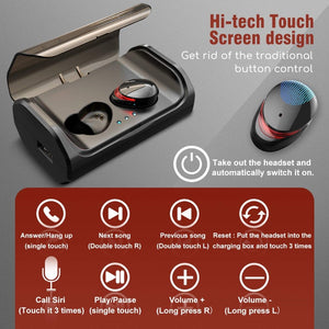 True Wireless Earbuds Touch Control Bluetooth 5.0 Noise Cancelling Headphones