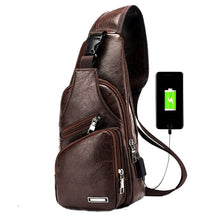 Load image into Gallery viewer, USB PU Charging Shoulder Bag Anti Theft Men Crossbody Bag