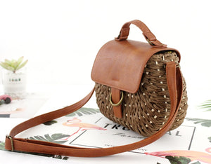 Vintage straw bag Pig Crossbody beach bag casual weaving rattan handbags