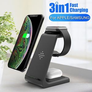 QI 10W Fast Charge Station 3 in 1 Wireless Charger For iPhone, Samsung and Samsung Buds,  Apple Watch 4 3 2 and Airpods Pro Charger Stand Dock