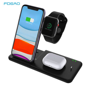 Fast Wireless Charging 4 in 1 Stand For Airpods Pro Apple Watch 5 4 3 2 1 and  iPhone 11 Pro X XS MAX XR