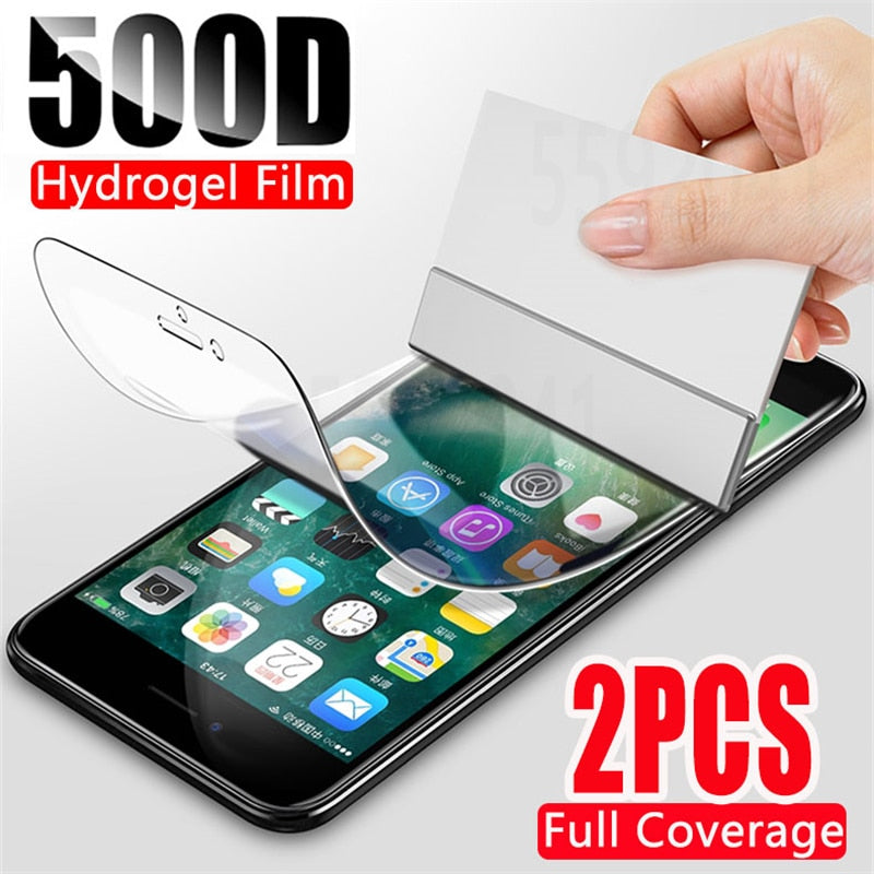 2Pcs 500D Hydrogel Film  Screen Protector For iPhone 7 8 Plus 6 6s Plus Soft Protective Film On iPhone 11 X XR XS Max 11 Pro Max