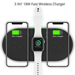 Bonola 3 In1 Wireless Charging Pad For iPhone 11Pro/11/XAR/XsMax Charger Dock For Apple Watch 5 Wireless Charger For AirPods Pro