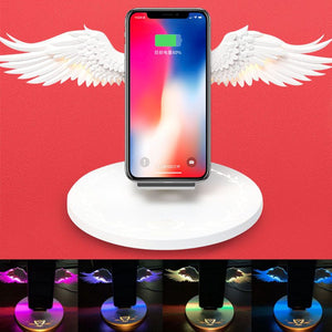 Universal Colorful LED Qi Wireless Charge Dock 10W Angel Wings Fast Charger For iPhone 11 Pro X XR 8 Plus Smasung S9 S10 Plus