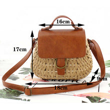 Load image into Gallery viewer, Vintage straw bag Pig Crossbody beach bag casual weaving rattan handbags