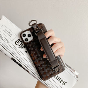 Leather Grid Wrist Strap Phone Case For iPhone 11 Pro Max