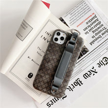 Load image into Gallery viewer, Leather Grid Wrist Strap Phone Case For iPhone 11 Pro Max