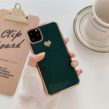 Load image into Gallery viewer, Electroplated love heart Phone Case For iPhone 11 11Pro Max XR XS X XS Max 7 8 6 6S Plus Shockproof Protective Back Cover capa