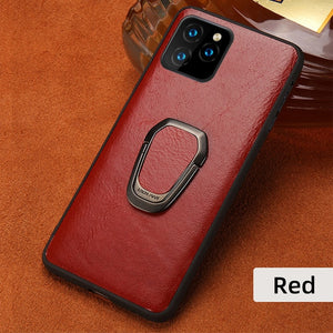 Original Oil Wax Leather Phone Case for iPhone 11 Pro 11 Pro Max X XS Max XR 7 8 Plus 6 6s 7 Plus Ring Magnetic Kickstand Cover