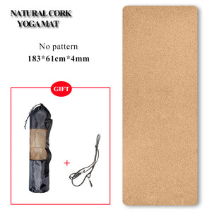 Natural Cork TPE Yoga Mat Non-slip Pilates Exercise Mats Fitness Gym Sports Slimming Balance Training Pads 4mm