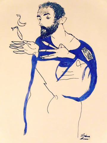 Klimt in a light Blue Smock, Egon Schiele