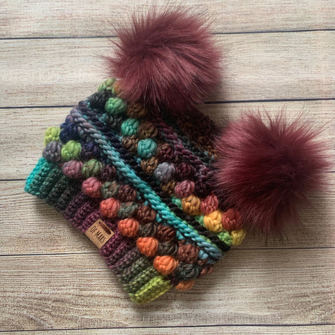 CUSTOM Rainbow Wobble Bobble Beanie - double pom