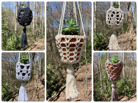 5 Hanging Planters with Tassels - Crochet Pattern