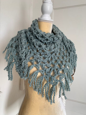 Seafoam Bulky Triangle Scarf With Fringe