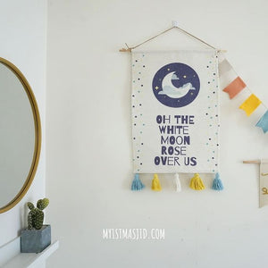 White Moon Rose Over Us Tapestry/Wall Hanging
