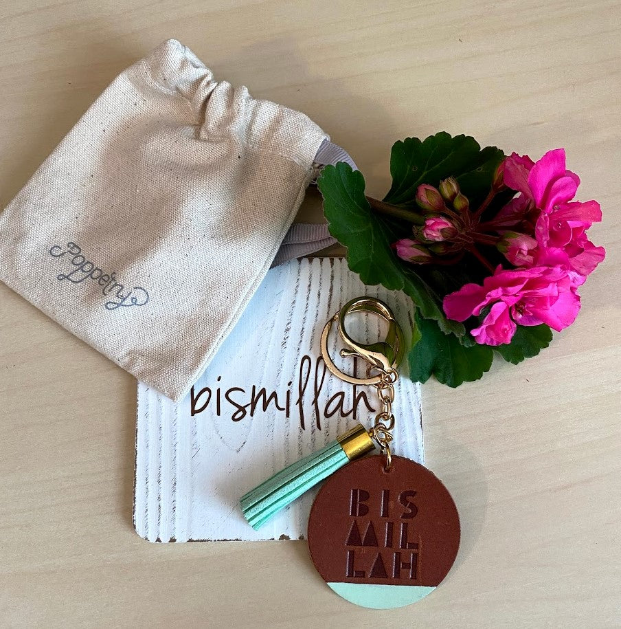 'Bismillah' BROWN LEATHER Keyring with Suede Tassel