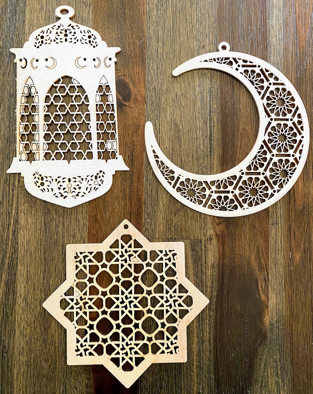 Arabesque/Geometric Wooden Ornaments (set of 3)