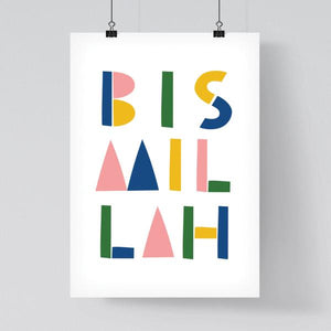Colourful 'Bismillah' Toy Block Print