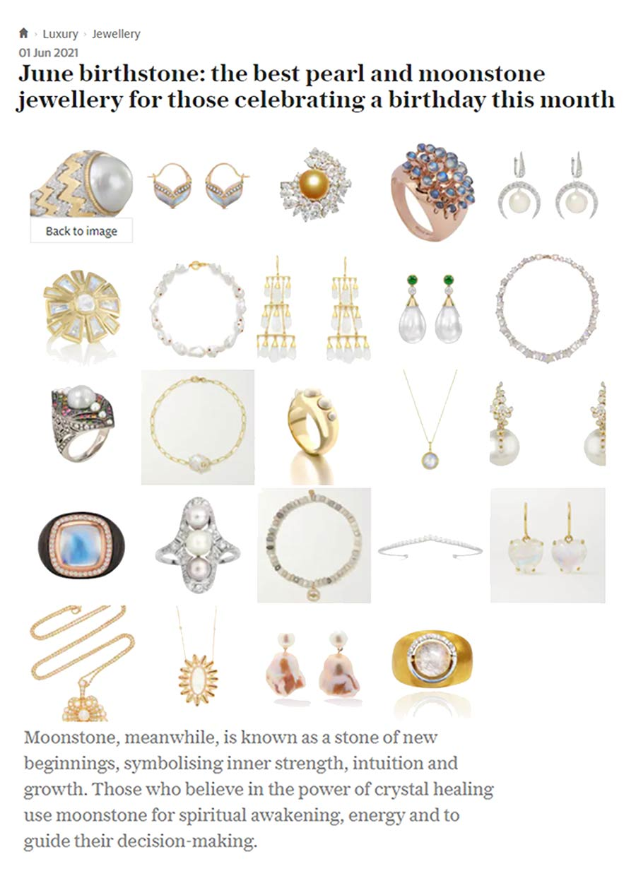 Article from the Telegraph with different moonstone and pearl jewels