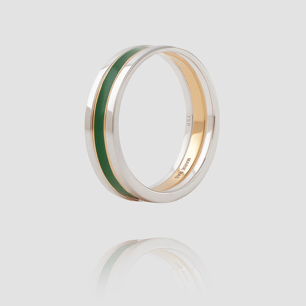We Ring | White Gold Green Lacquer