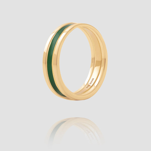 We Ring | Yellow Gold Green Lacquer