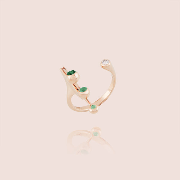 Emerald Dancing Diamond Open Ring