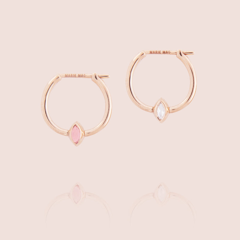 Swinging Mini Hoop Diamond Earrings