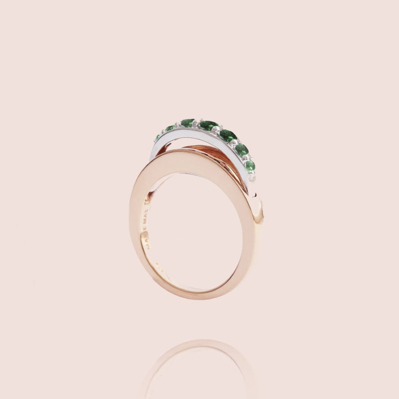 Emerald Ripple Wave Ring