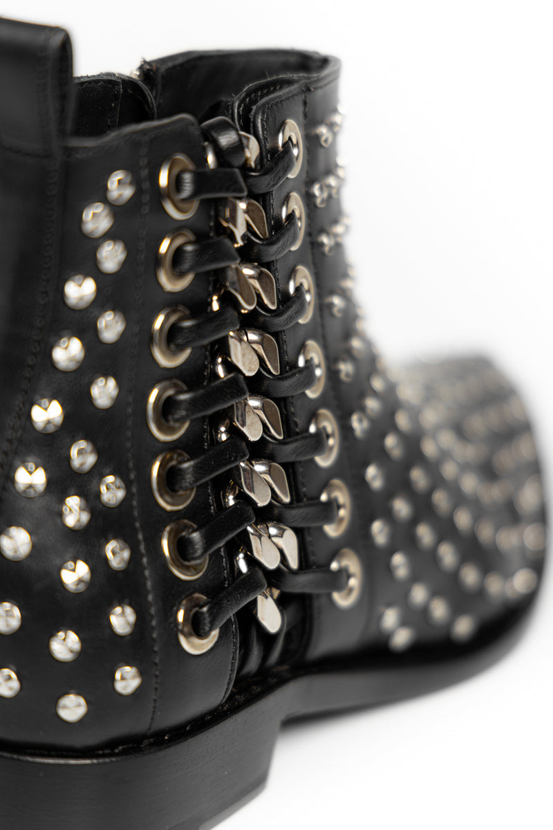 Black Studded Chain Boots