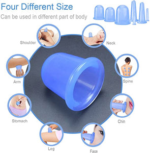 Cupping Therapy Sets 7Pcs Silicone Anti Cellulite Cup Vacuum Suction Massage Cups Facial Cupping Sets Body and Face Massager for Adults Home Use (Blue)