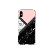 Load image into Gallery viewer, Black and Pink Marble Clear iPhone Case