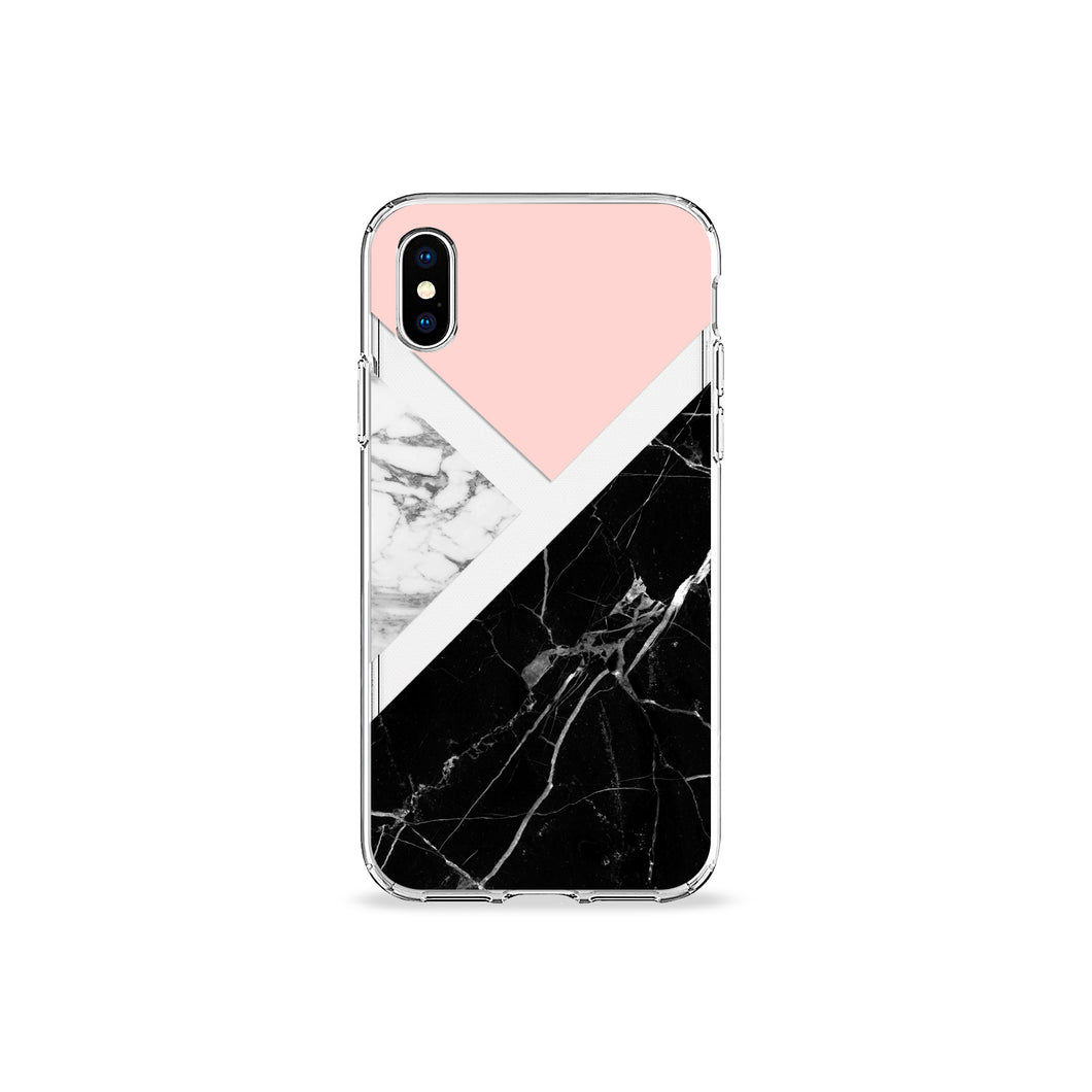 Black and Pink Marble Clear iPhone Case - bycsera