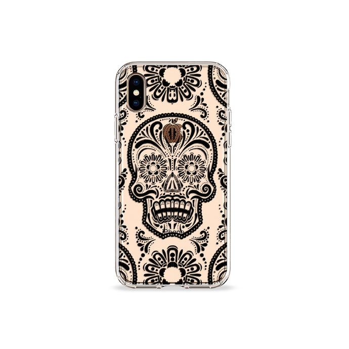 Sugar Skull Black Clear iPhone Case - bycsera