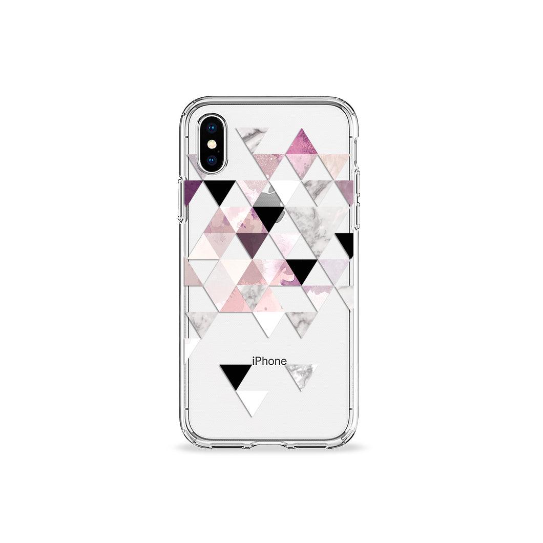 Amaranth Marble Clear iPhone Case in silver