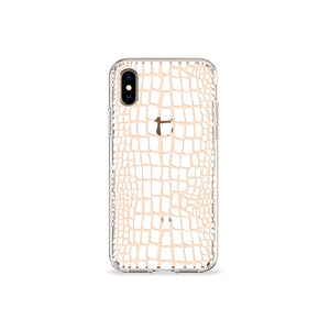 Crocodile Print White Clear iPhone Case,CSERA