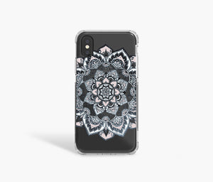 Navy Mandala Clear iPhone Case